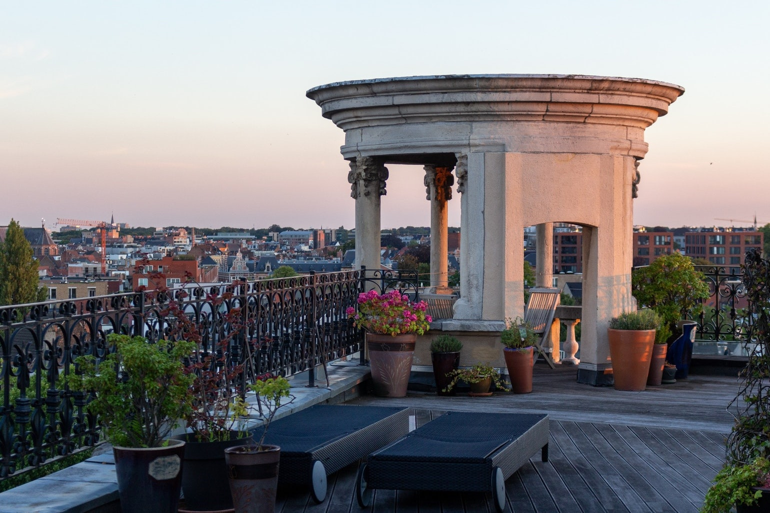 The roof terrace of the Translators' House at sunset