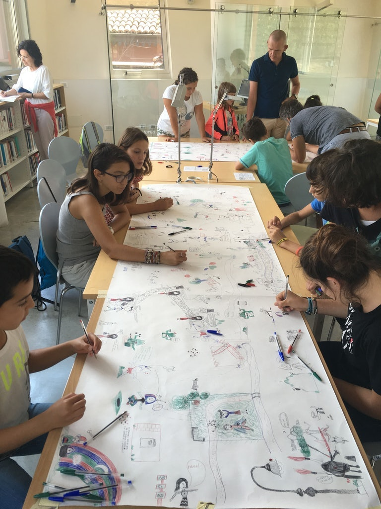 Italian children at one of the workshops