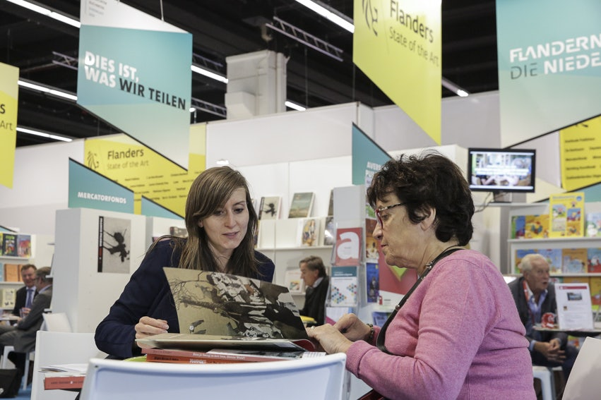 The Flemish-Dutch publishers booth at the Frankfurt Book Fair in 2016.