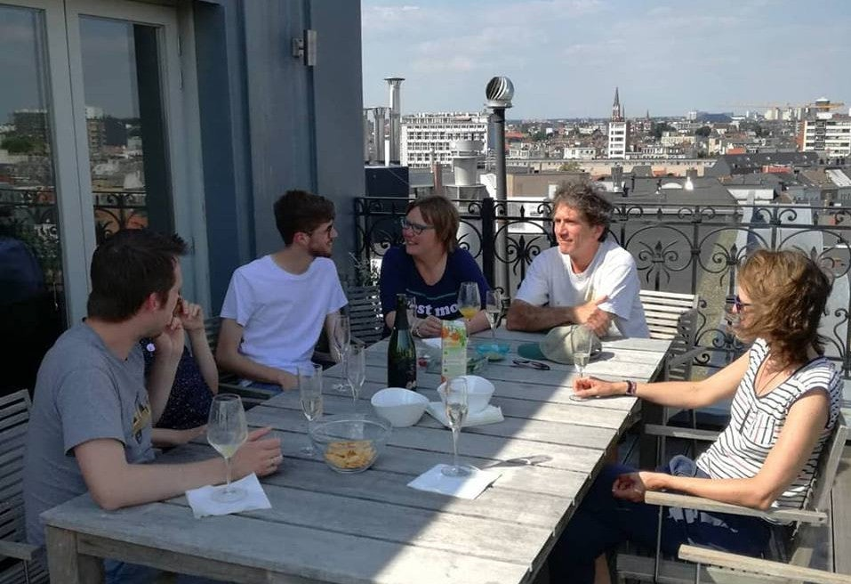 Drinks on the roof terrace with part of the Flanders Literature team